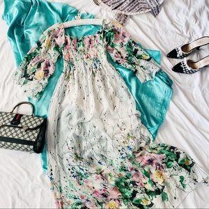 90s Boho Smock Bell Sleeves Whimsical Maxi Dress